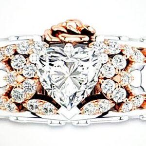 Gothic Heart Zircon Skull Ring